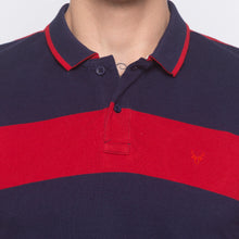 Load image into Gallery viewer, Striped Polo Collar Navy Blue T-shirt-5