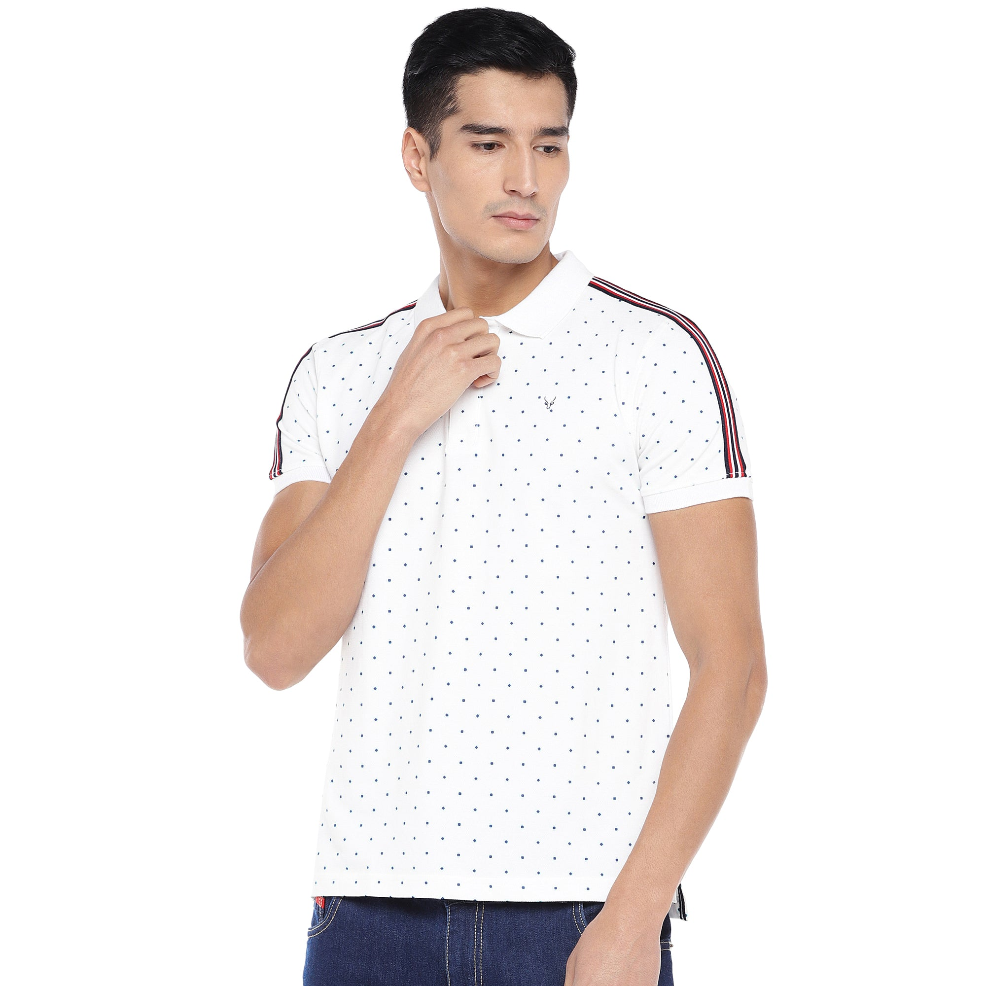White Printed Polo T-Shirt-1