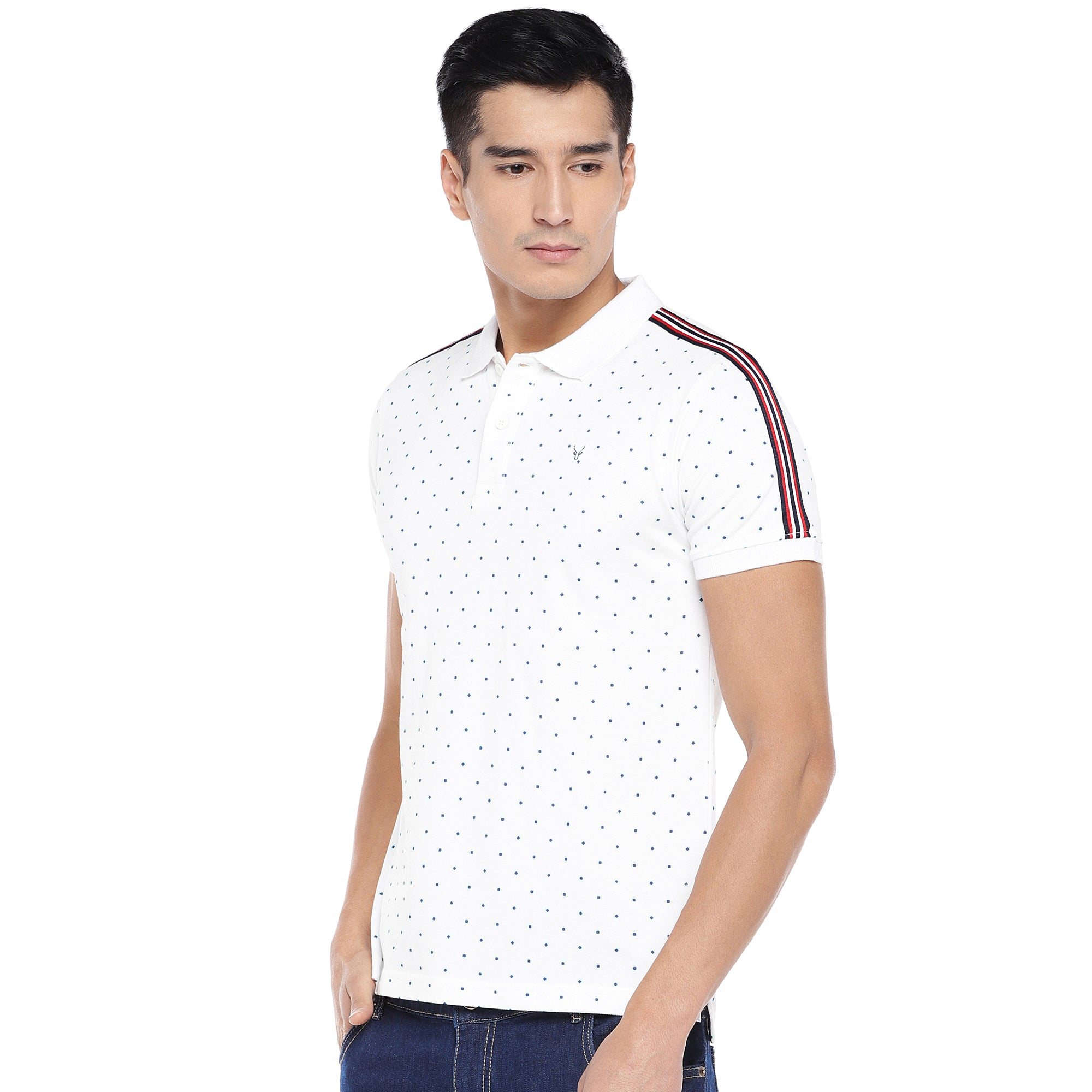 White Printed Polo T-Shirt-2