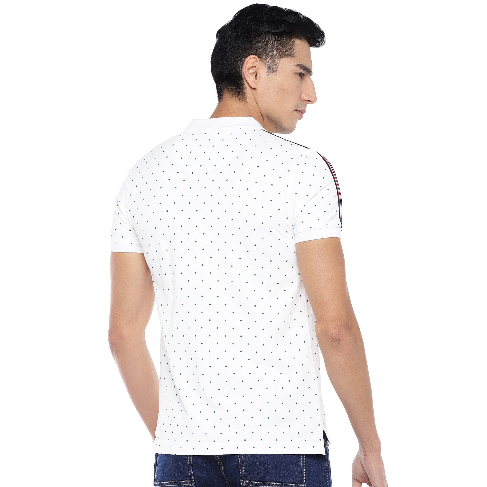 White Printed Polo T-Shirt-3