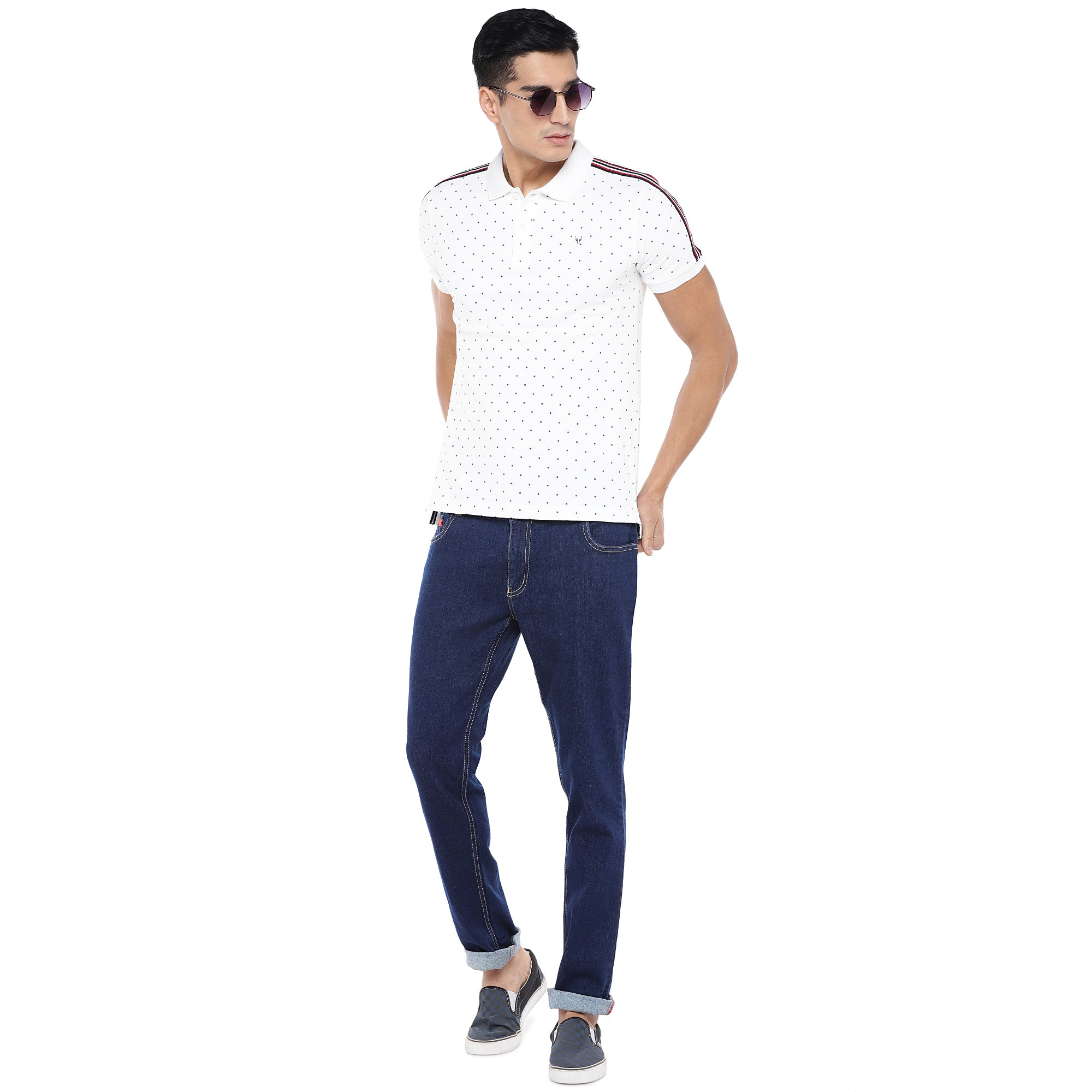 White Printed Polo T-Shirt-4