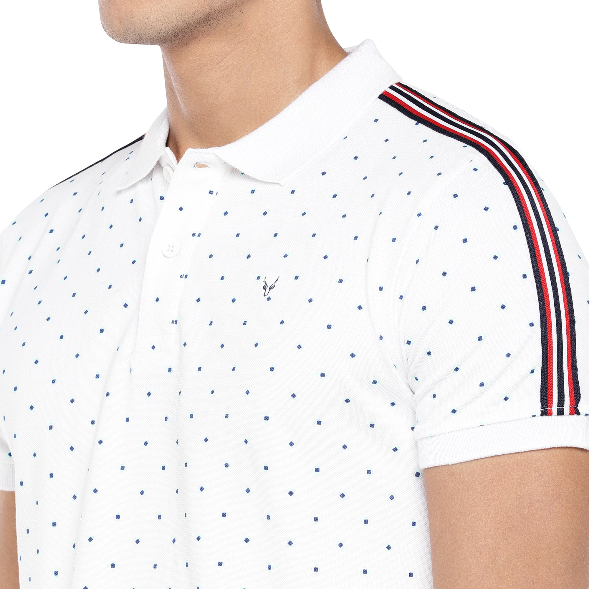 White Printed Polo T-Shirt-5