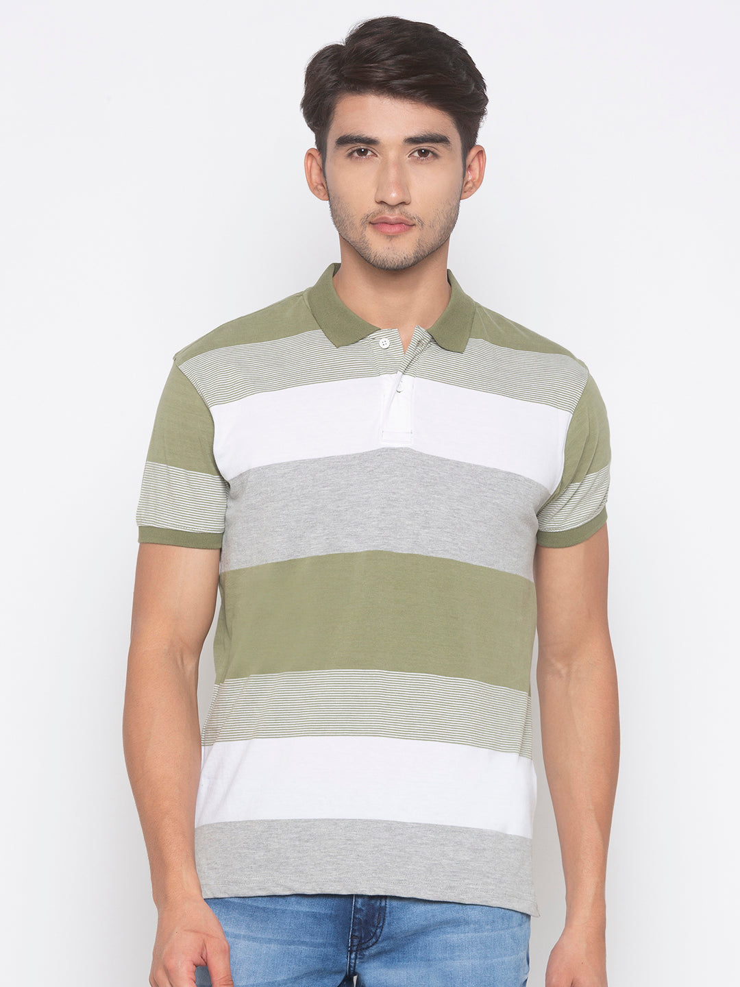 Globus Olive & White Striped T-Shirt-1