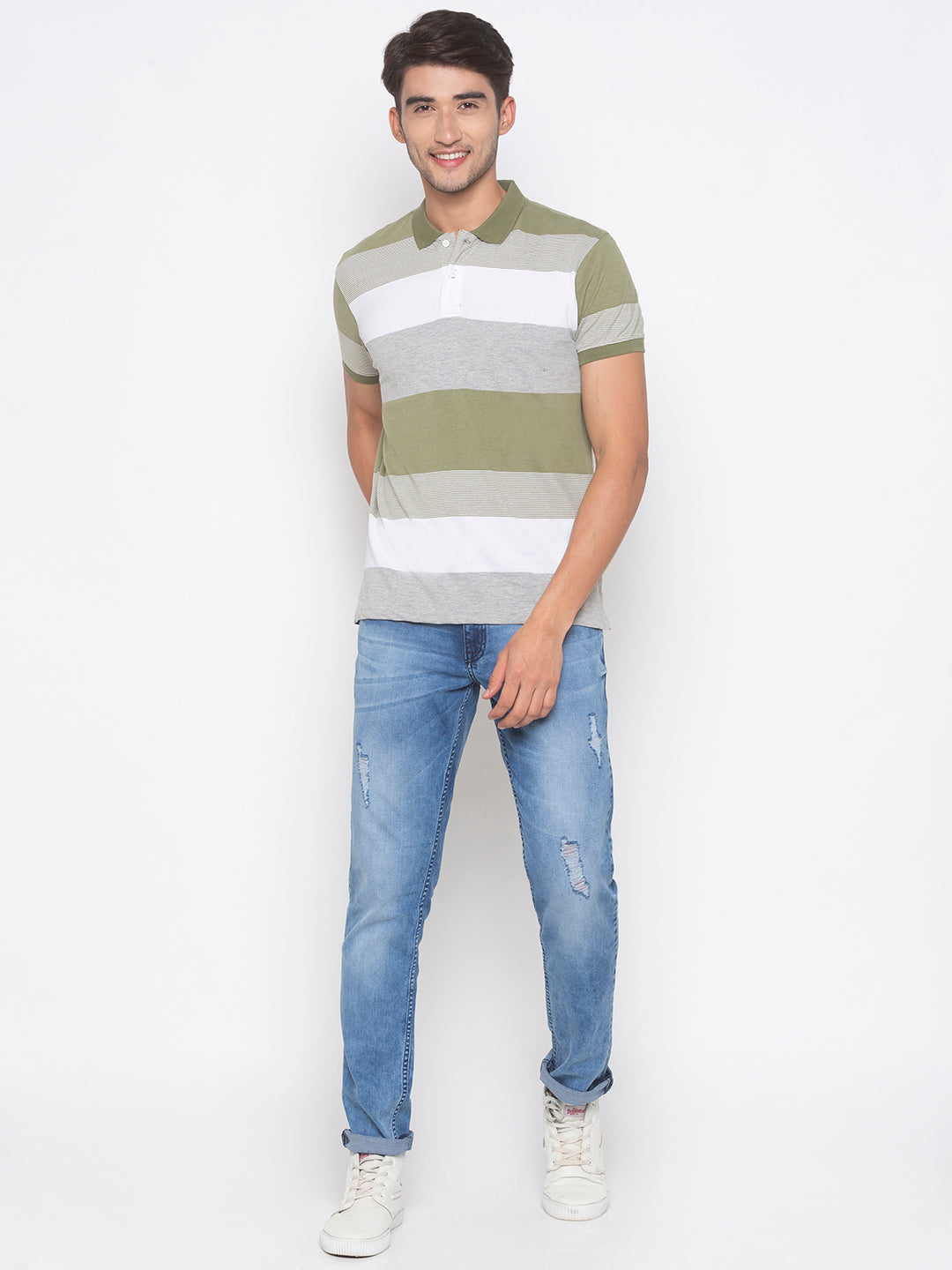 Globus Olive & White Striped T-Shirt-4