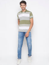 Load image into Gallery viewer, Globus Olive & White Striped T-Shirt-4