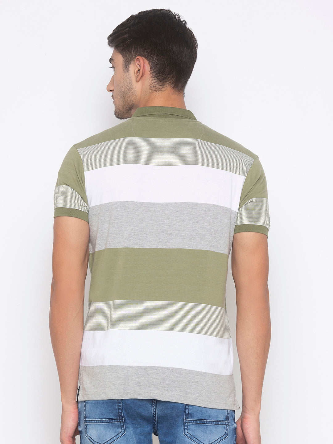 Globus Olive & White Striped T-Shirt-3