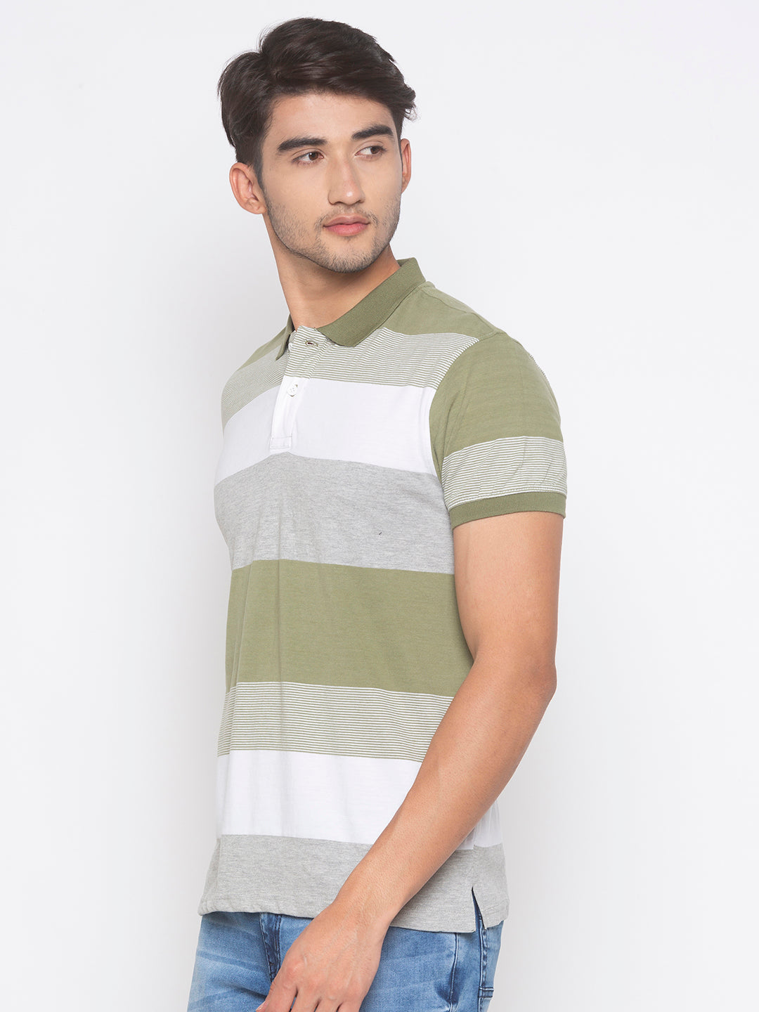 Globus Olive & White Striped T-Shirt-2