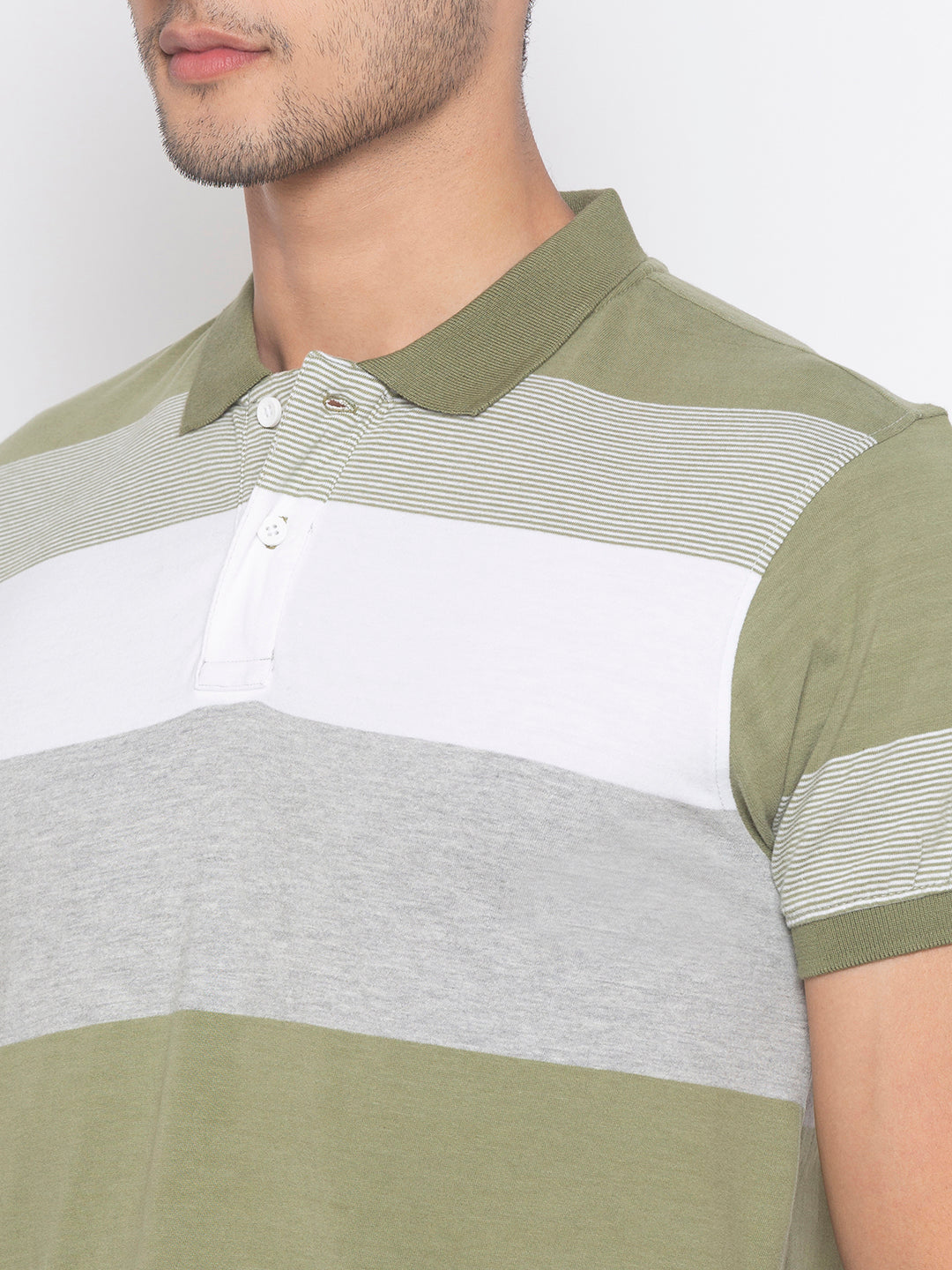Globus Olive & White Striped T-Shirt-5