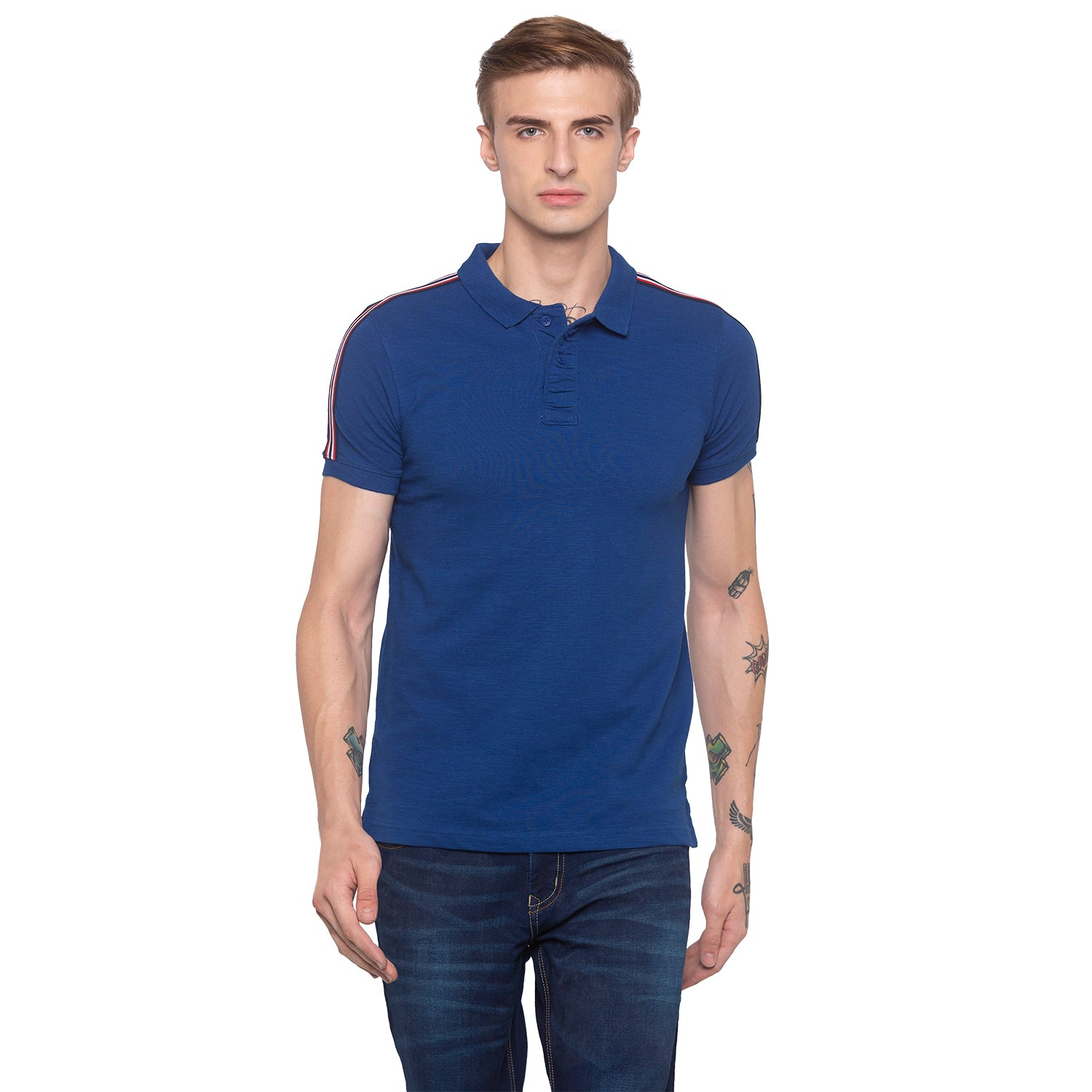 Electric Blue Polo T-shirt-1