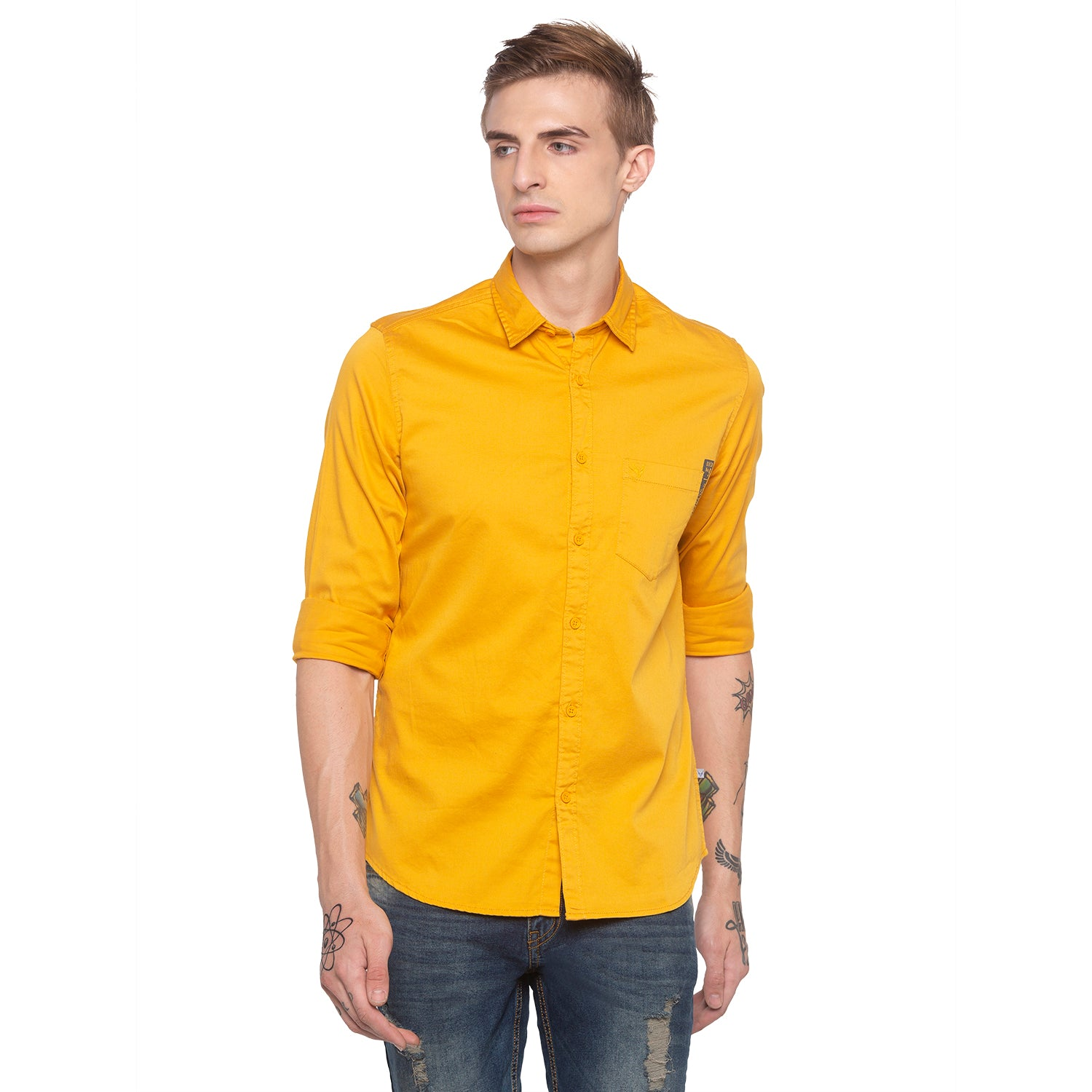 Solid Mustard Casual Shirt-1