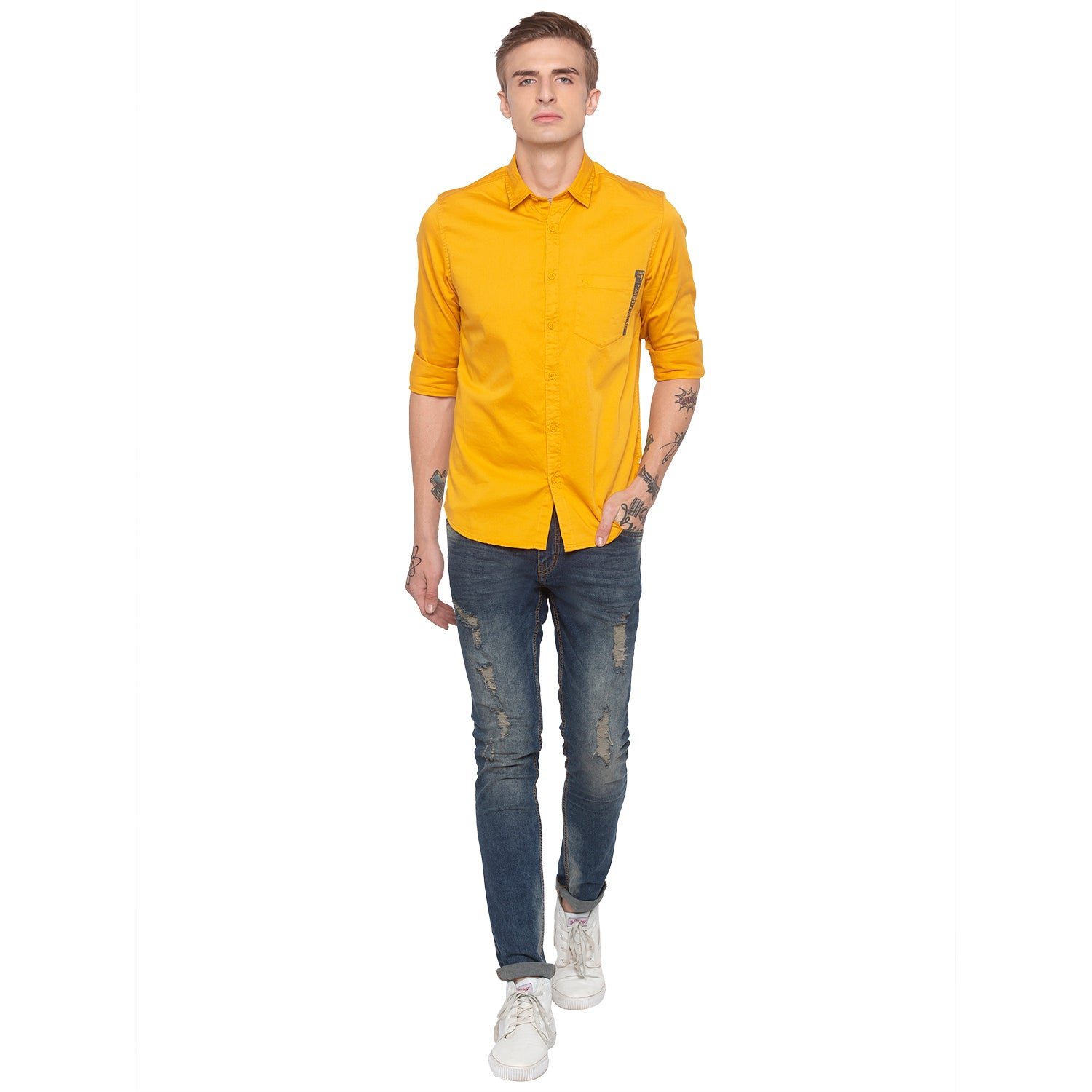 Solid Mustard Casual Shirt-4