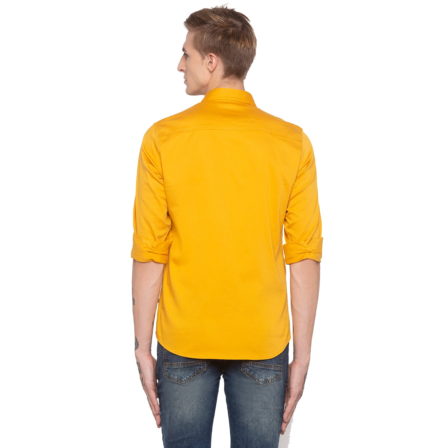 Solid Mustard Casual Shirt-3