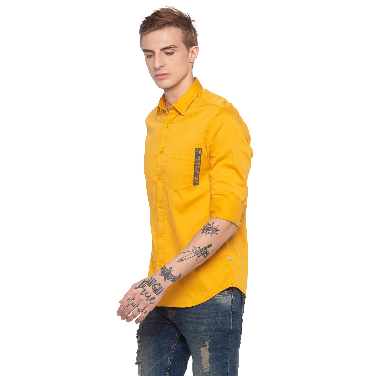 Solid Mustard Casual Shirt-2