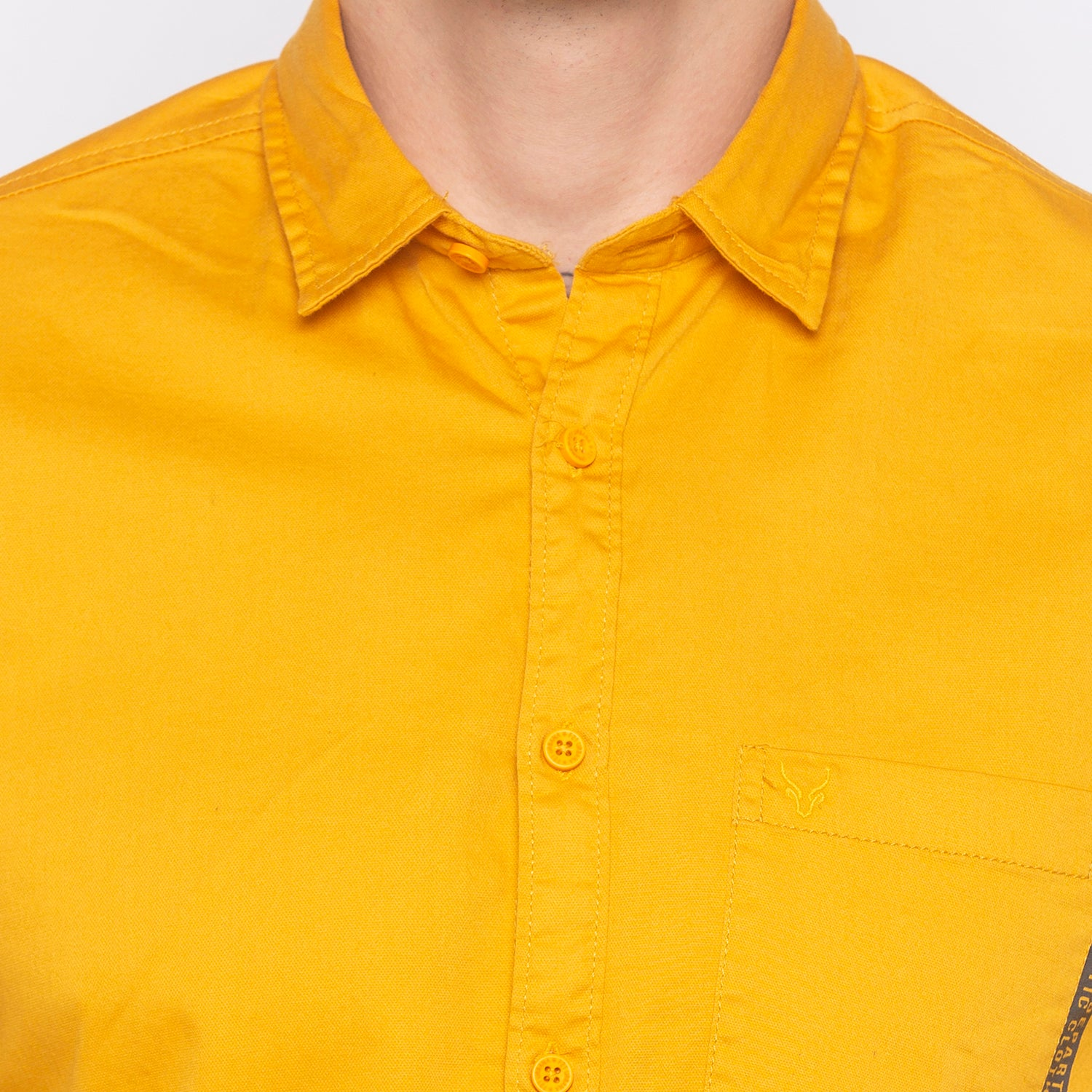 Solid Mustard Casual Shirt-5