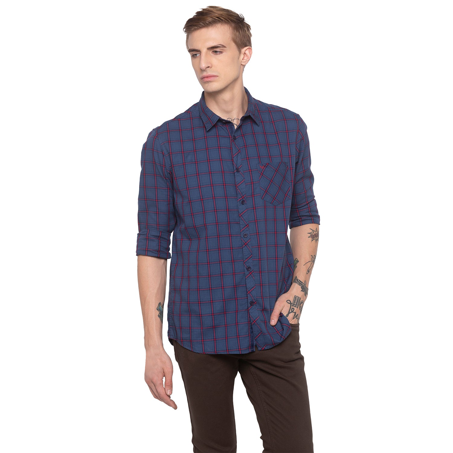 Checked Navy Blue Shirt-1