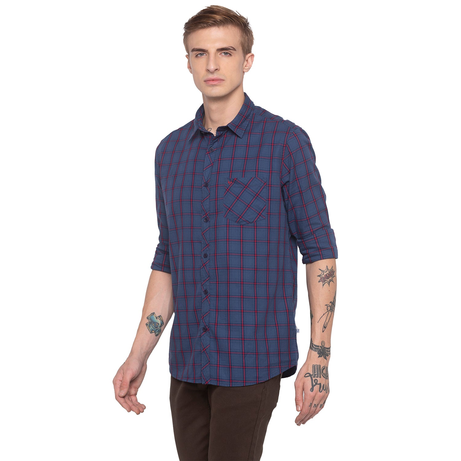 Checked Navy Blue Shirt-2