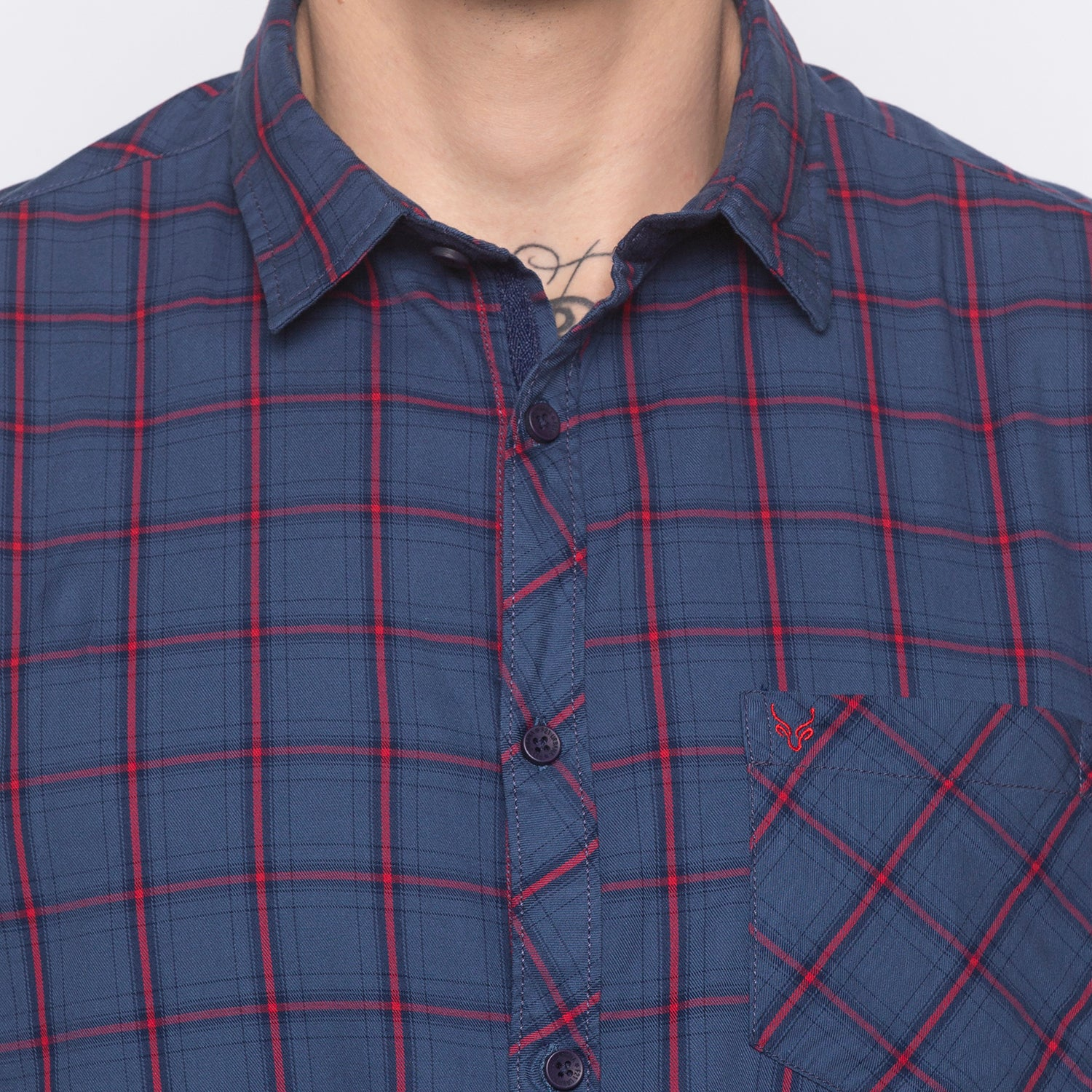 Checked Navy Blue Shirt-5