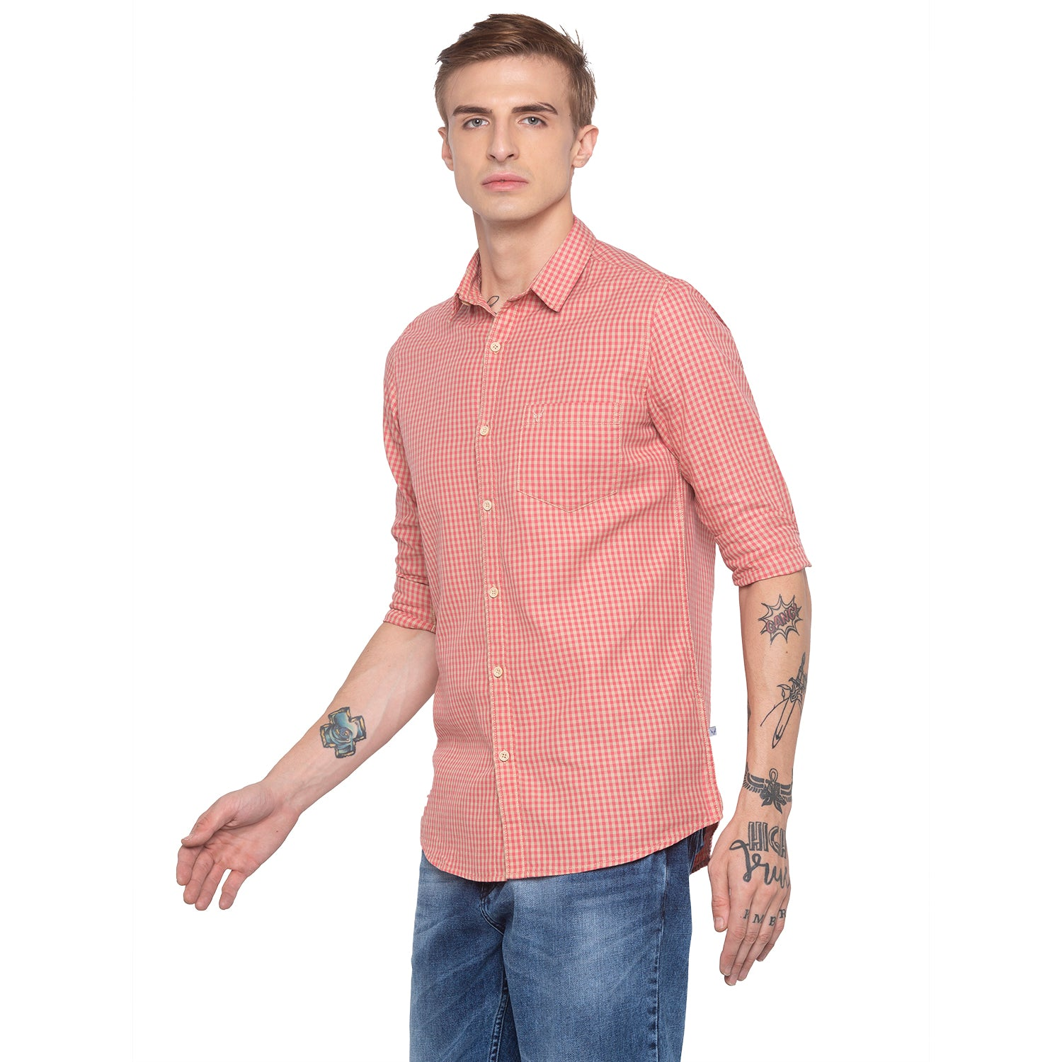 Gingham Check Pink Casual Shirt-2
