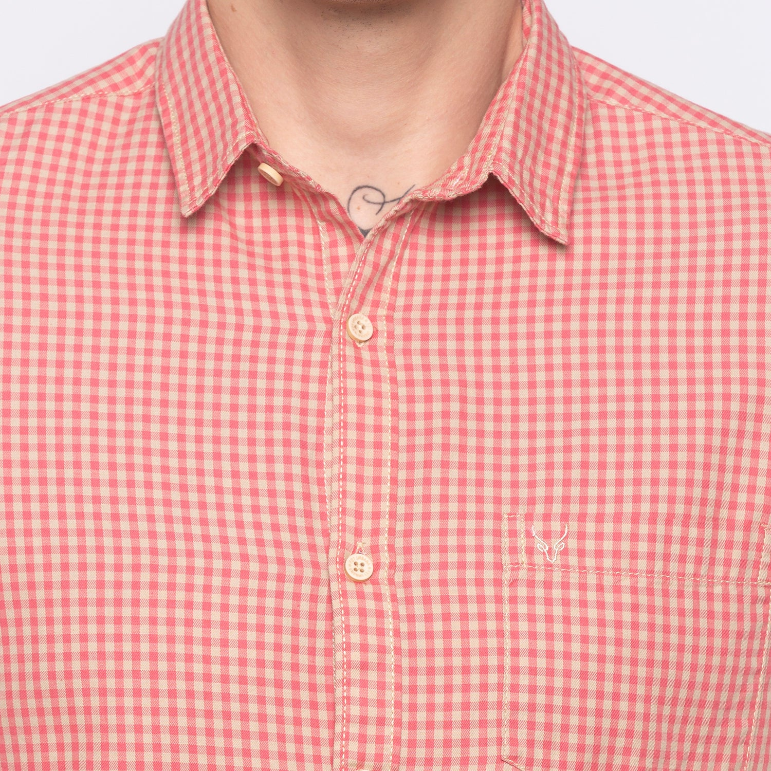 Gingham Check Pink Casual Shirt-5