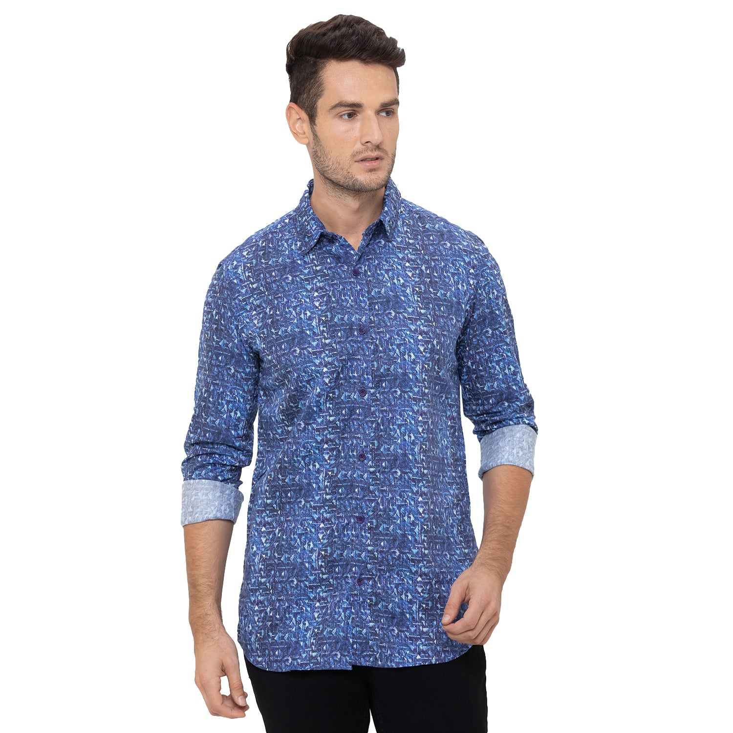 Globus Blue Printed Shirt-1