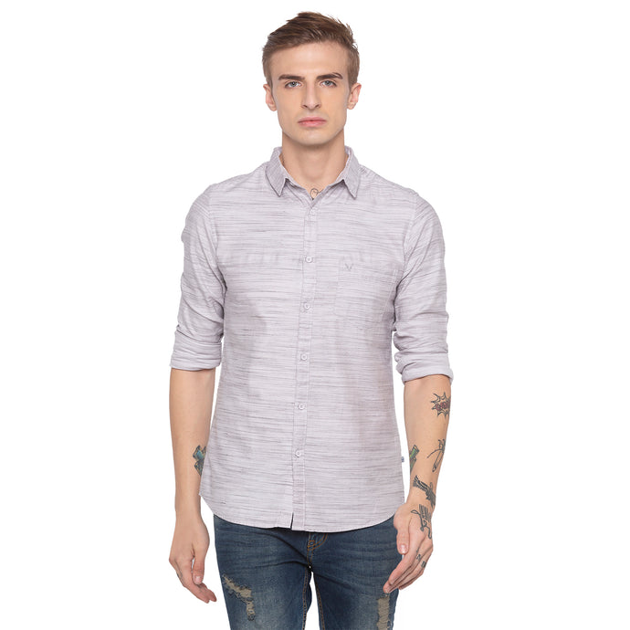 Solid Slim Fit Grey Shirt-1