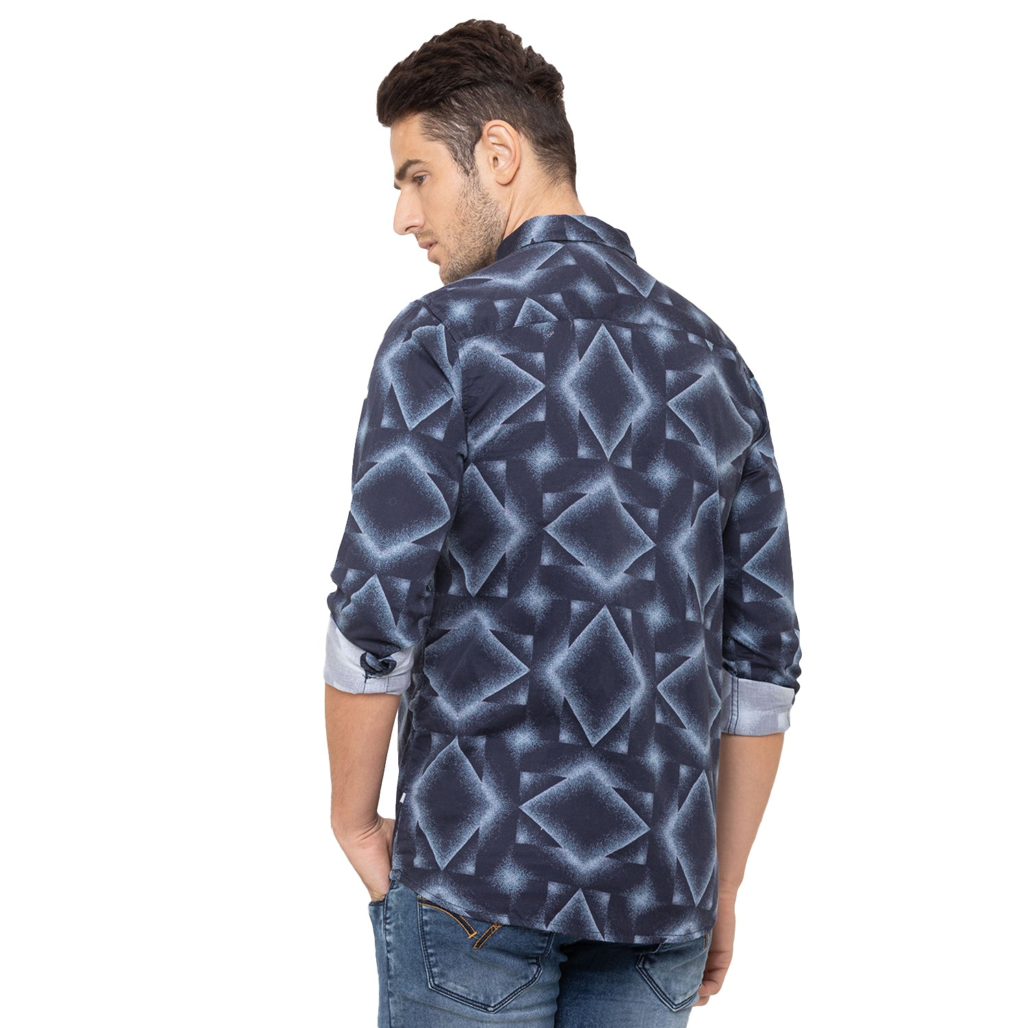 Globus Blue Printed Shirt-3