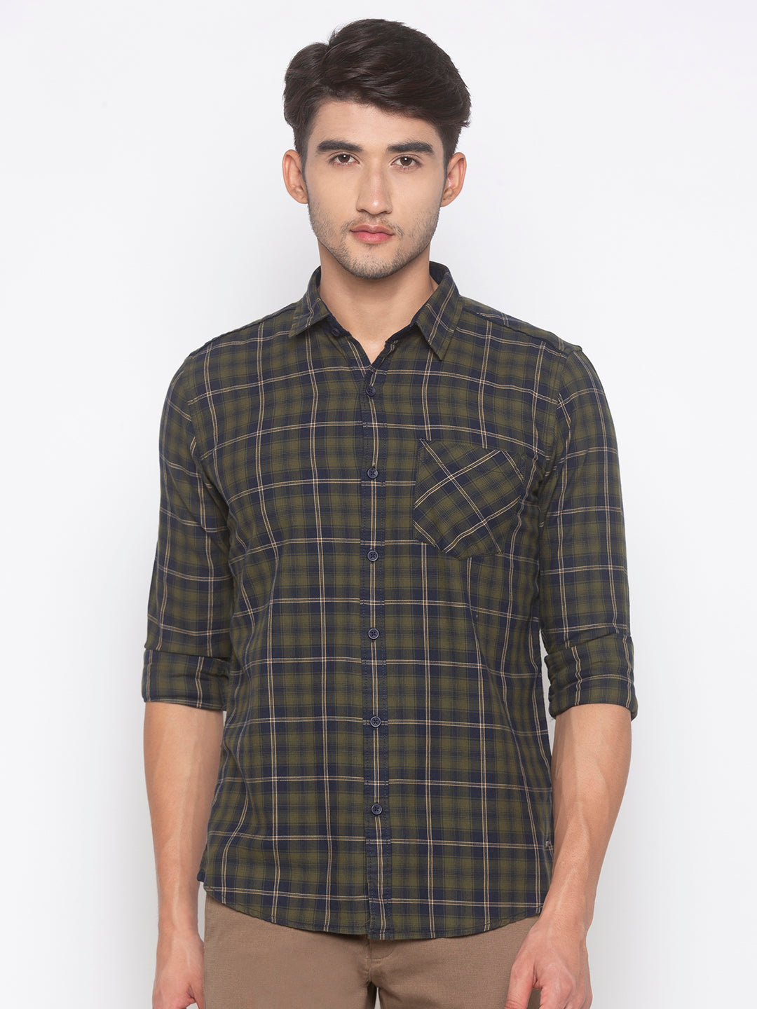 Globus Olive Checked Shirt-1