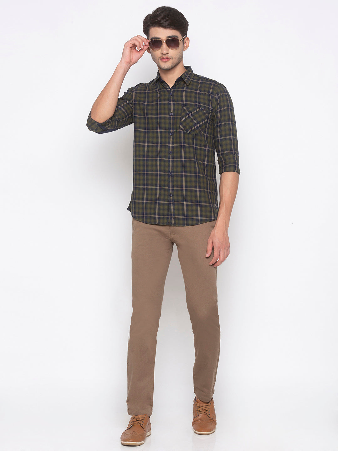 Globus Olive Checked Shirt-4