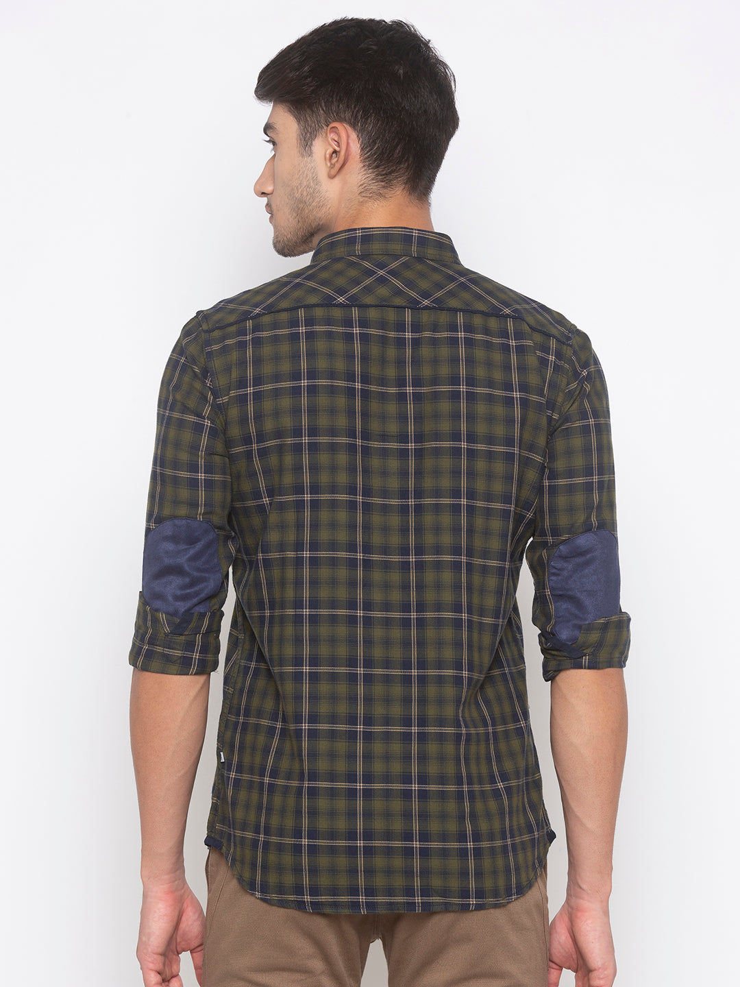 Globus Olive Checked Shirt-3
