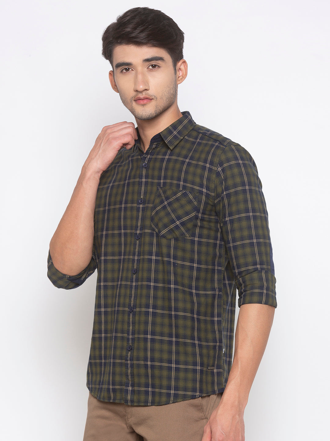 Globus Olive Checked Shirt-2