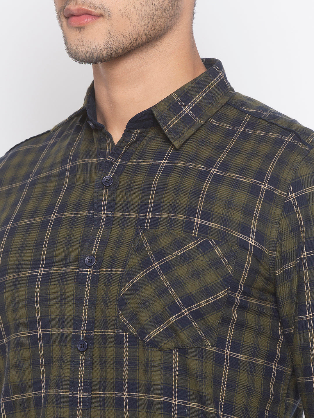 Globus Olive Checked Shirt-5