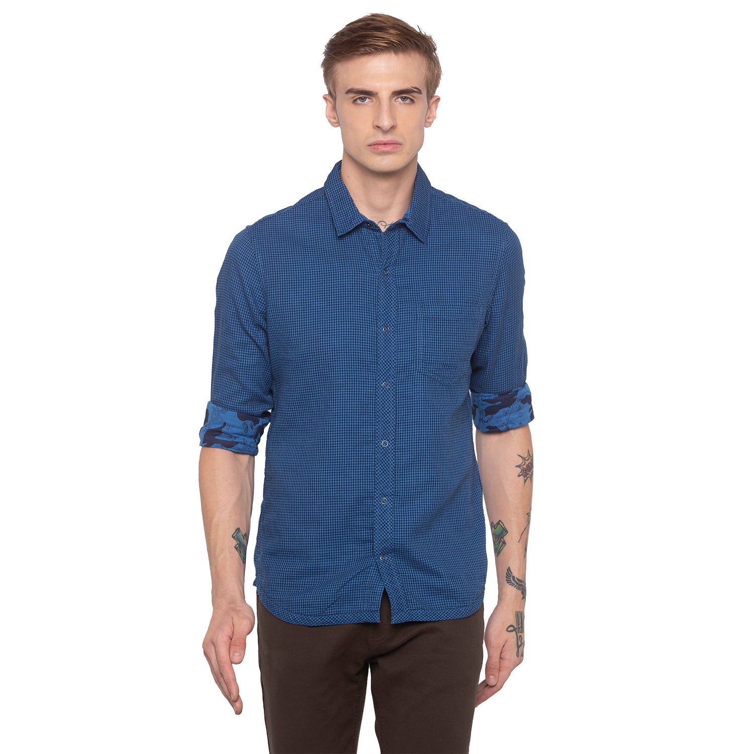 Window Pane Checked Blue Shirt-1