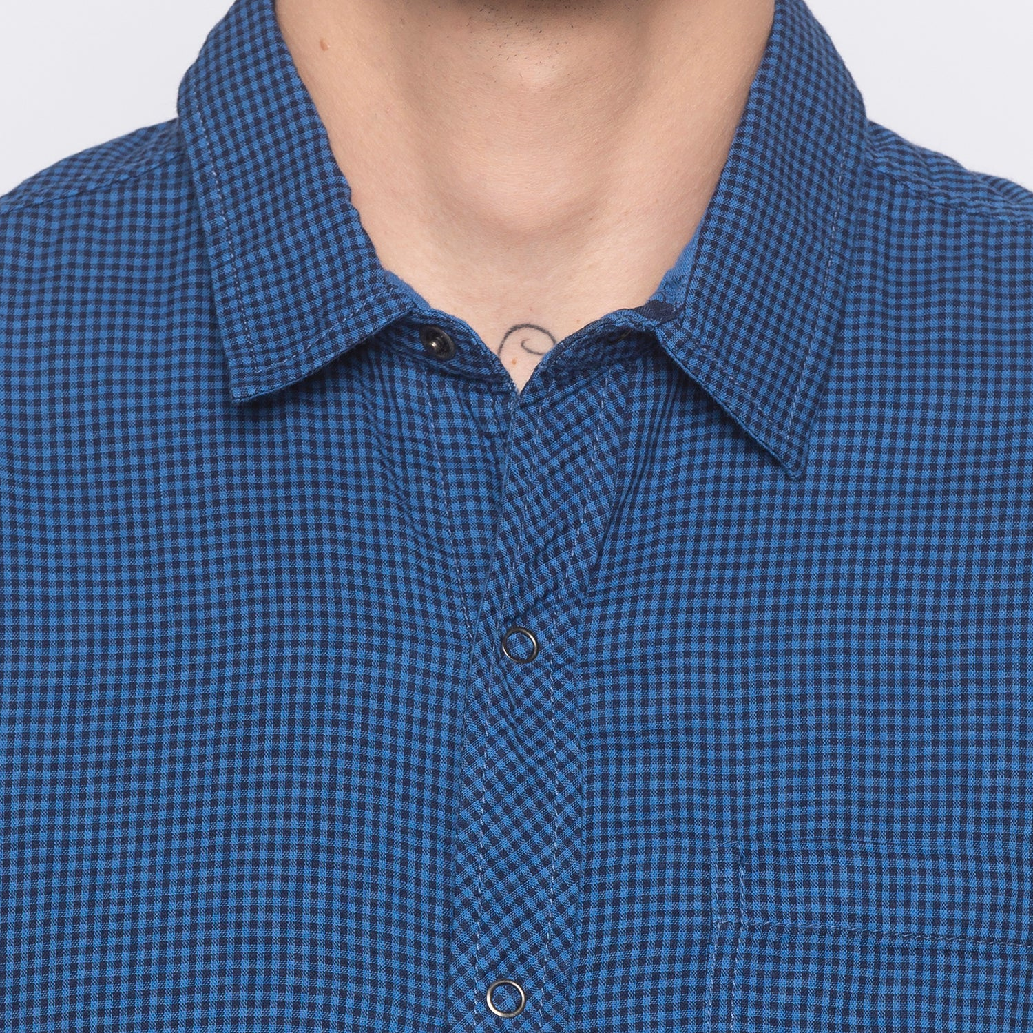 Window Pane Checked Blue Shirt-5