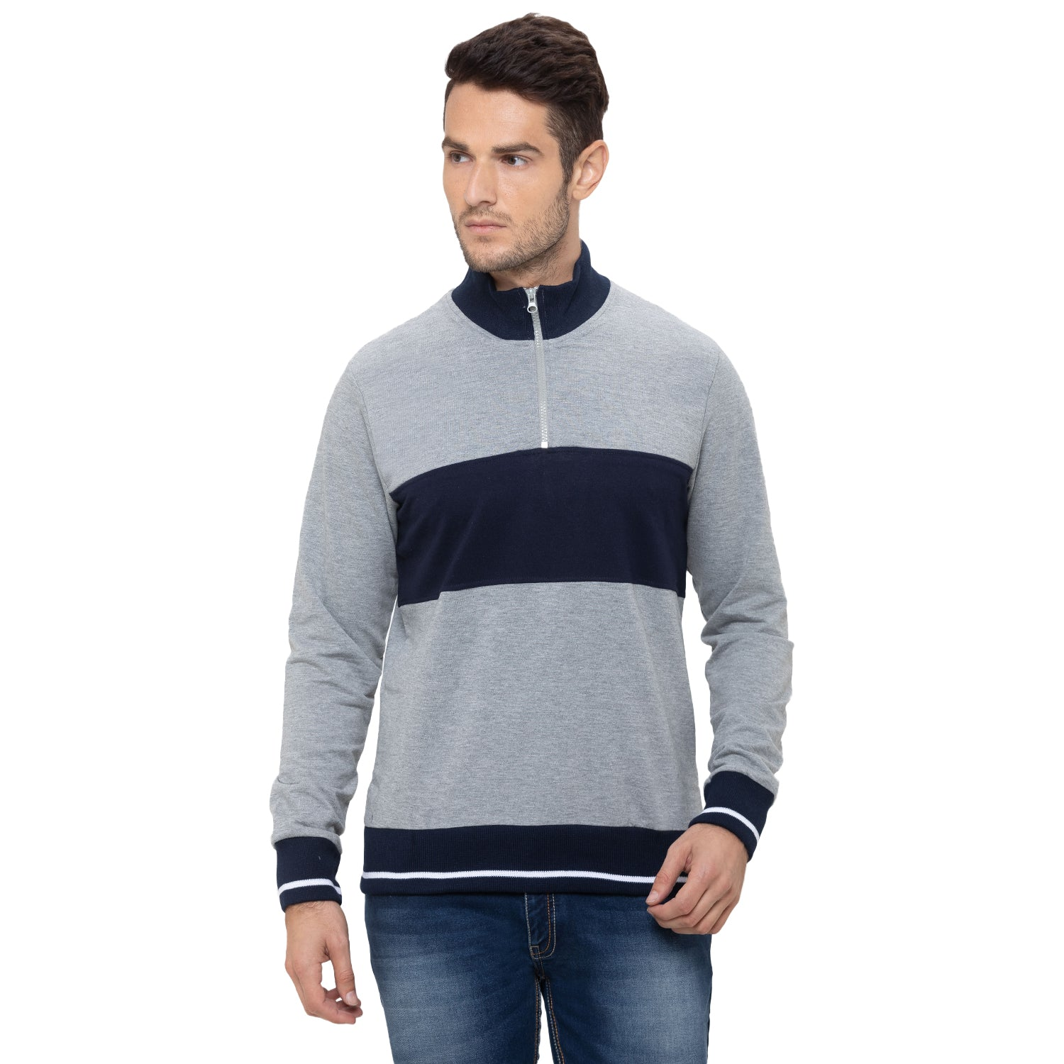 Globus Grey Striped Sweatshirt-1
