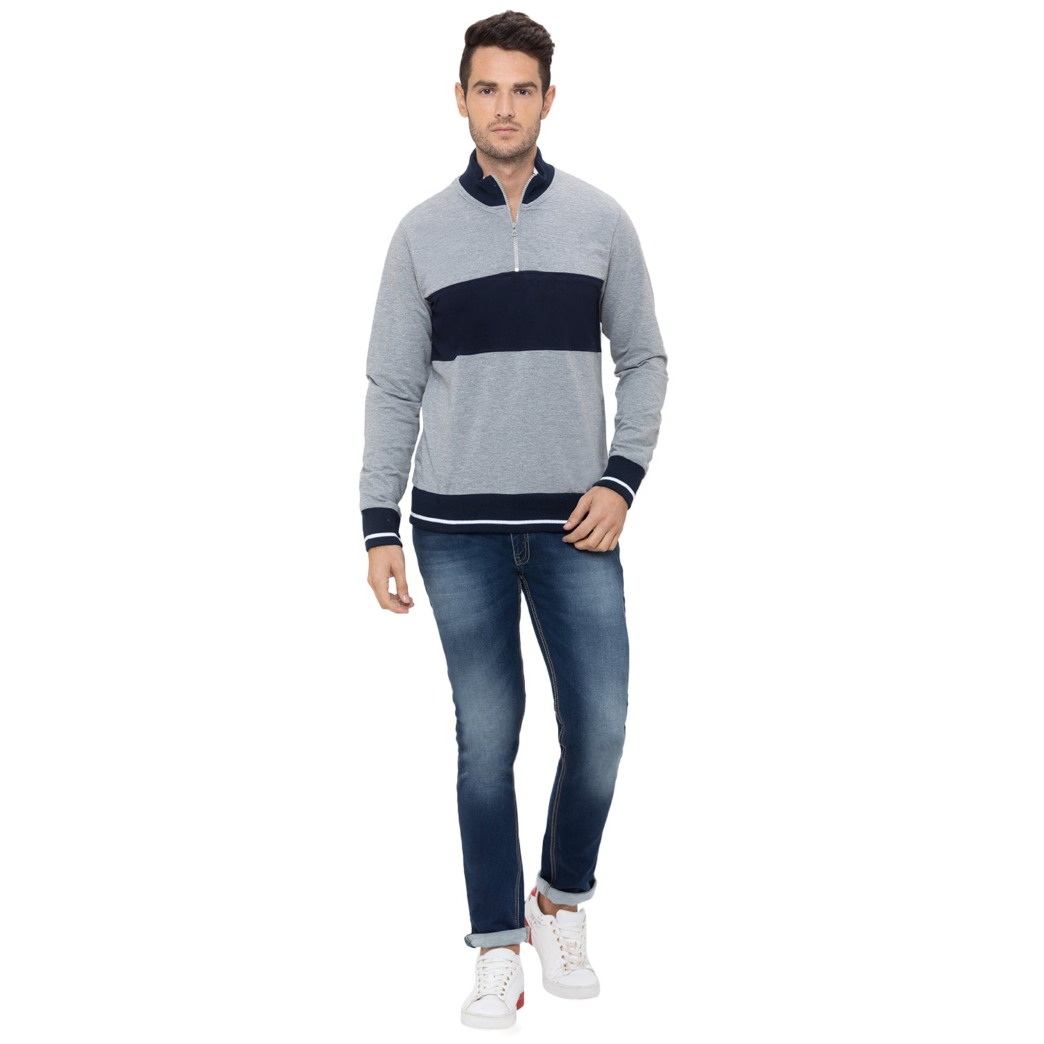 Globus Grey Striped Sweatshirt-2