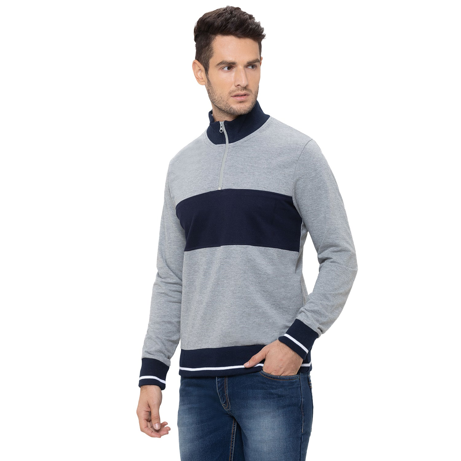 Globus Grey Striped Sweatshirt-4