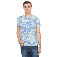 Load image into Gallery viewer, Floral Print Striped Sky Blue T-shirt-1