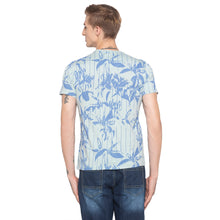 Load image into Gallery viewer, Floral Print Striped Sky Blue T-shirt-3
