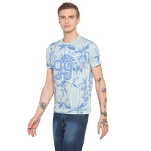Load image into Gallery viewer, Floral Print Striped Sky Blue T-shirt-2