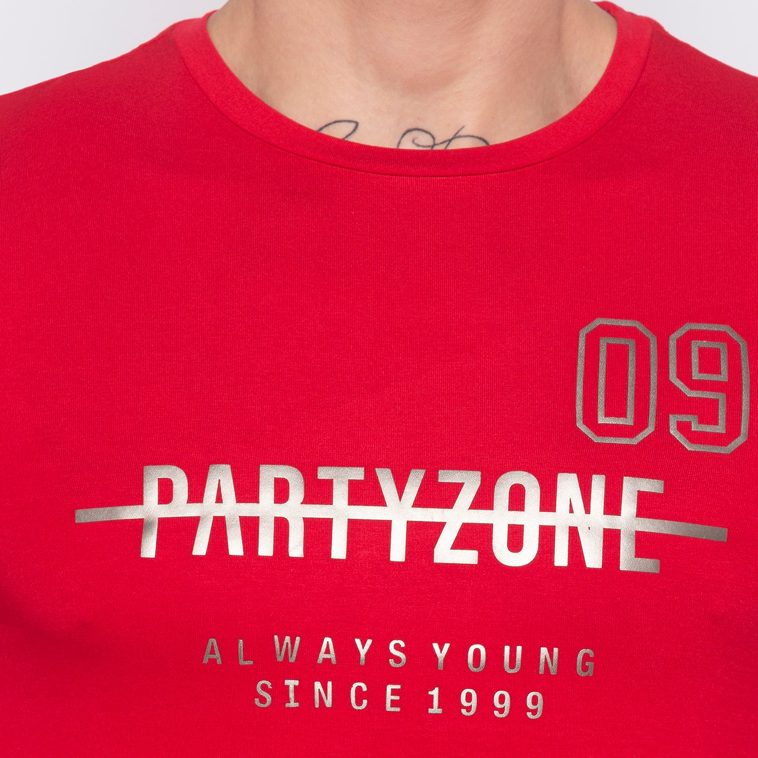 Foil Print Red Party T-shirt-5