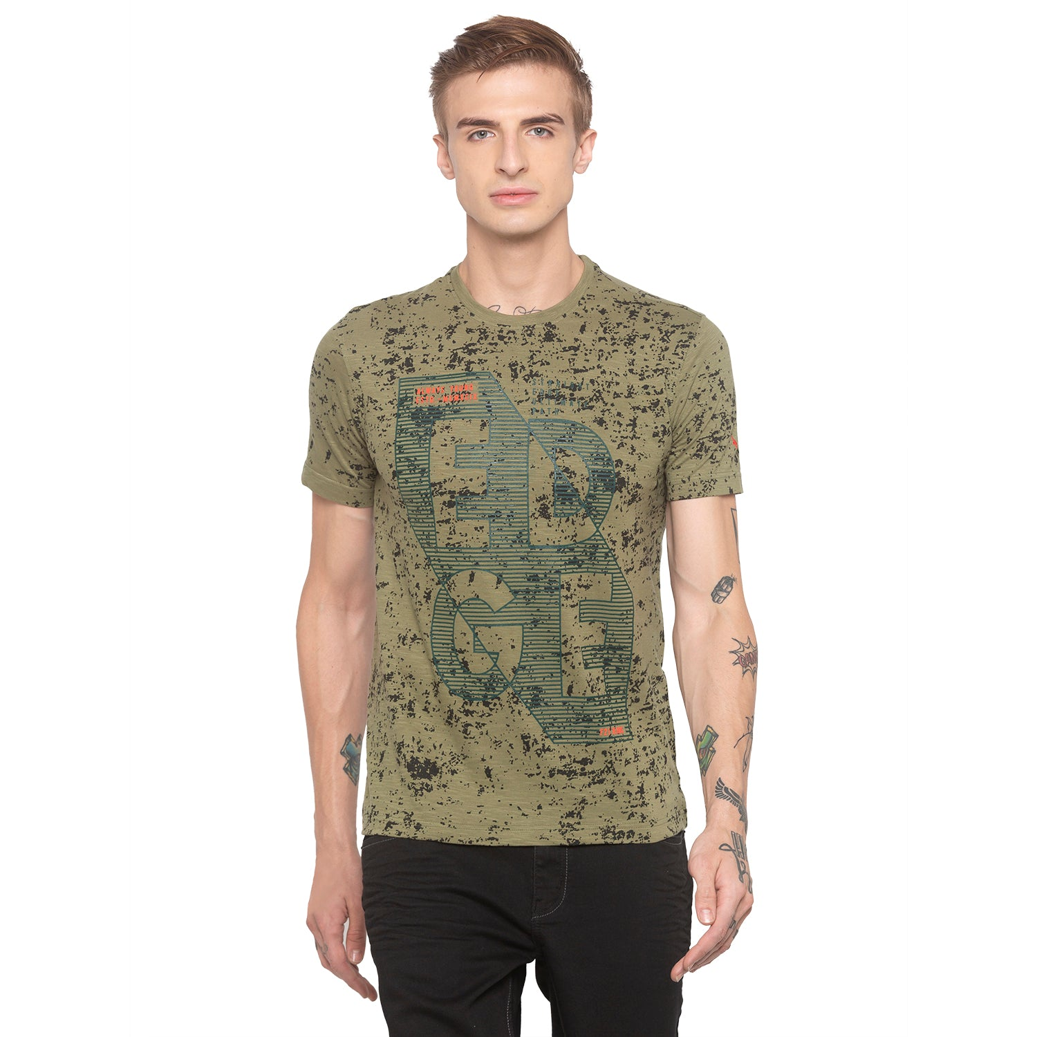 Graphic Print Olive T-shirt-1