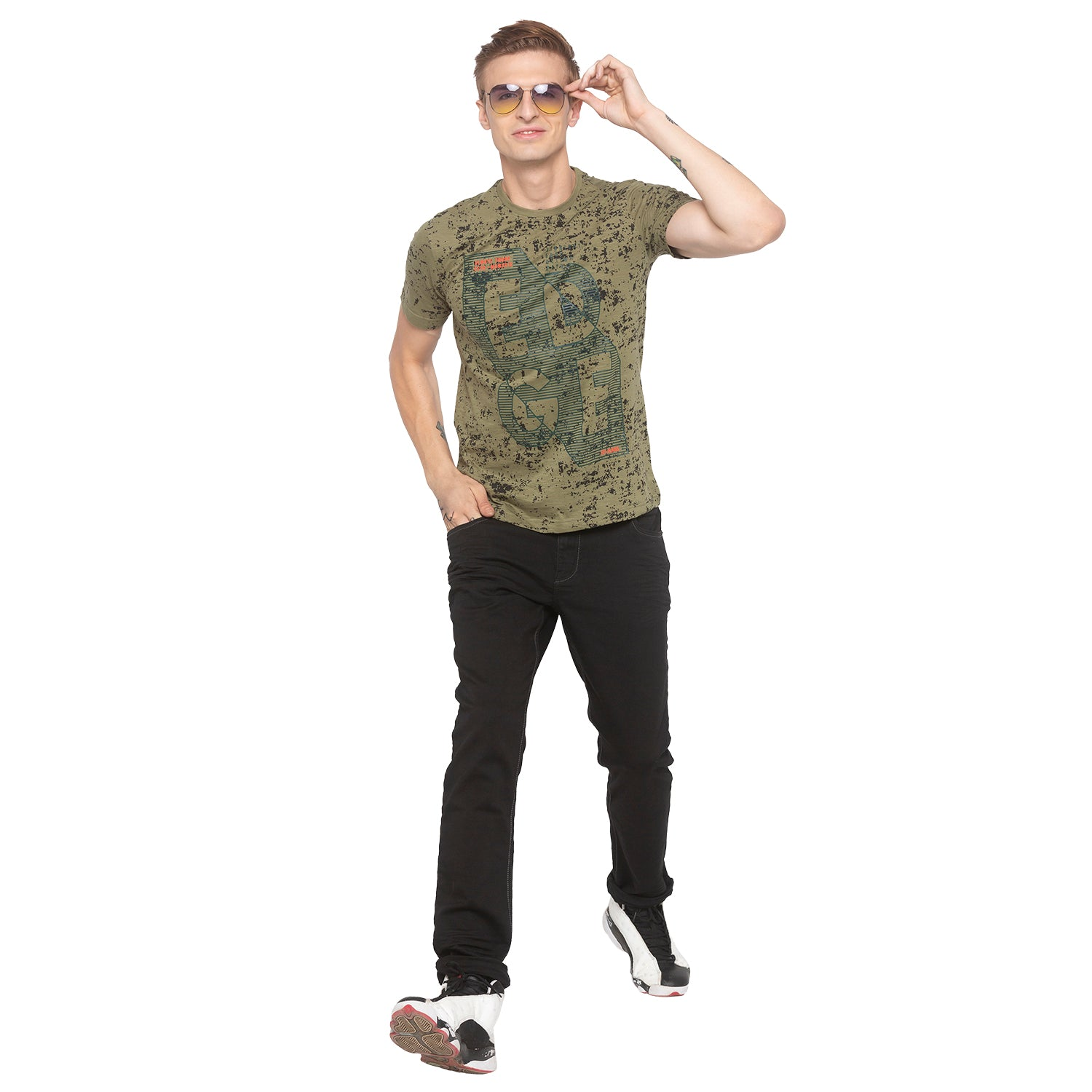 Graphic Print Olive T-shirt-4