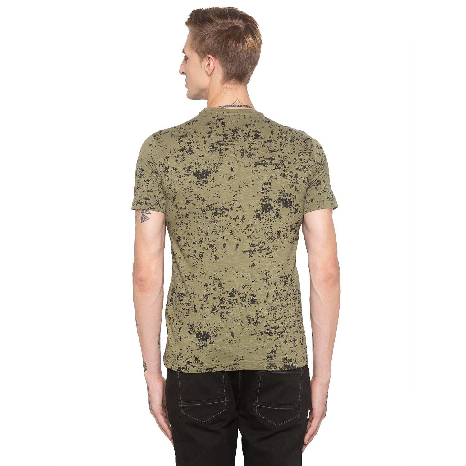 Graphic Print Olive T-shirt-3