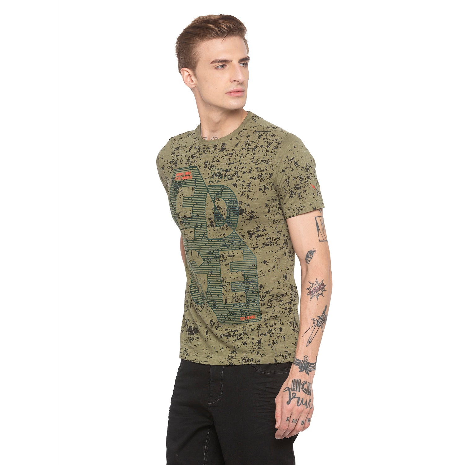 Graphic Print Olive T-shirt-2