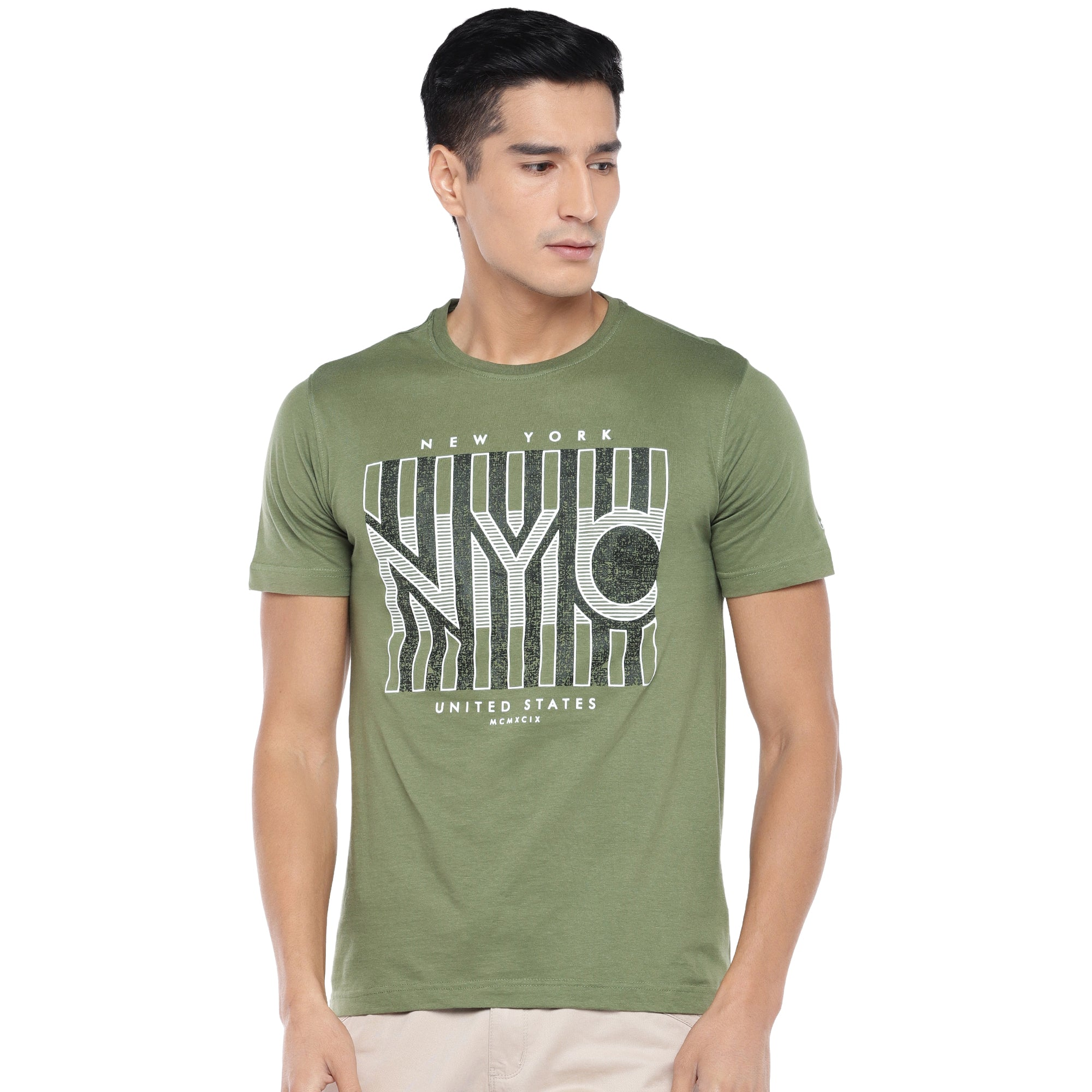 Olive Printed T-Shirt-1