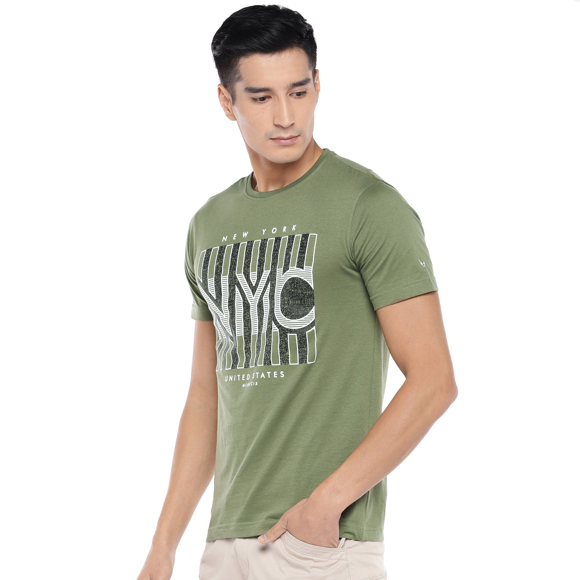Olive Printed T-Shirt-2