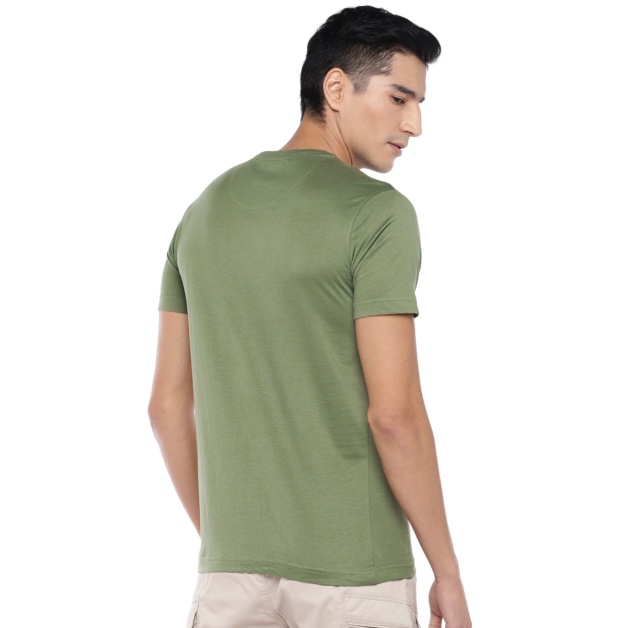 Olive Printed T-Shirt-3