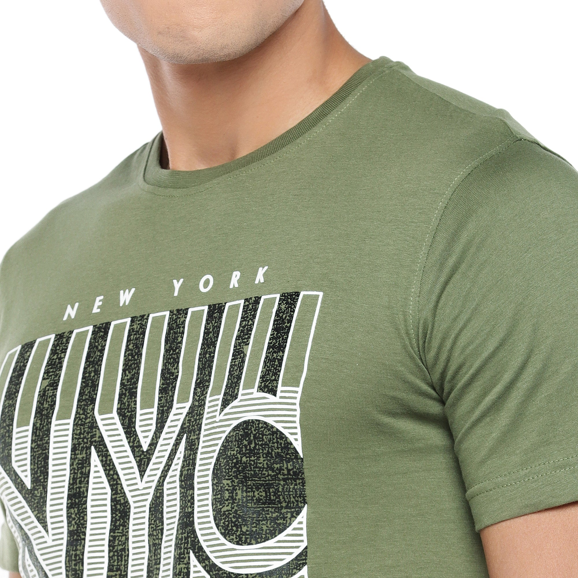 Olive Printed T-Shirt-5