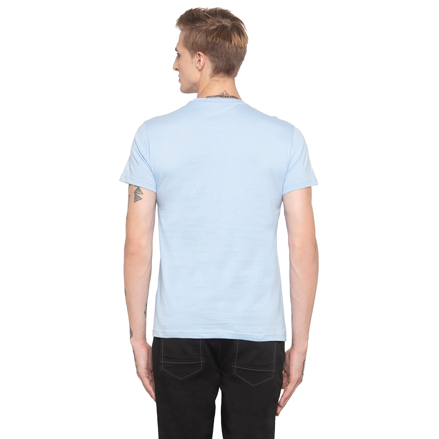 Stay Wild Print Sky Blue T-shirt-3