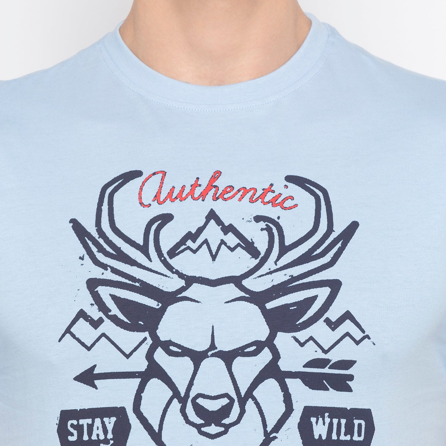 Stay Wild Print Sky Blue T-shirt-5